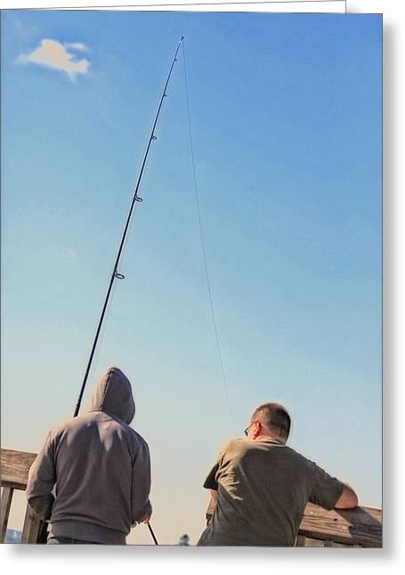At Fishing Greeting Card by Karol Livote