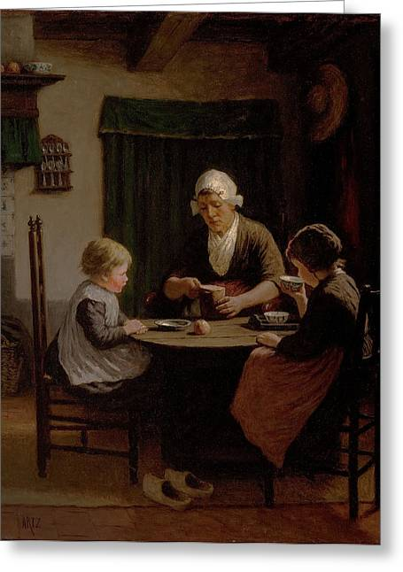 Grandparent Greeting Cards - At Grandmothers Greeting Card by David Adolph Constant Artz