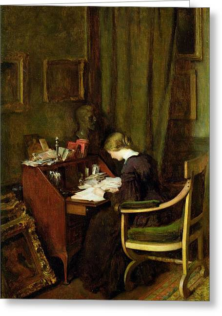 Bureau Greeting Cards - At Her Desk Greeting Card by Henry Thomas Schafer
