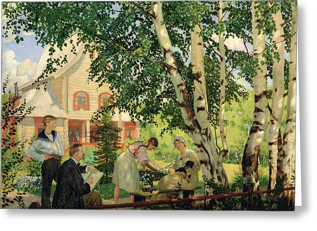 Male Dog Greeting Cards - At Home, 1914-18 Oil On Canvas Greeting Card by Boris Mikhailovich Kustodiev
