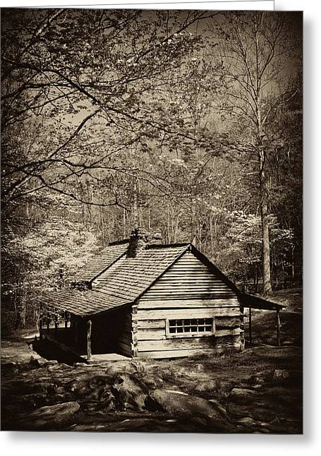 Mountain Cabin Greeting Cards - At Home in the Appalachian Mountains Greeting Card by Paul W Faust -  Impressions of Light