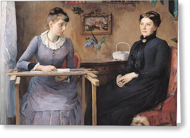 Lace Collar Greeting Cards - At Home Or Intimacy, 1885 Oil On Canvas Greeting Card by Marie Louise Catherine Breslau