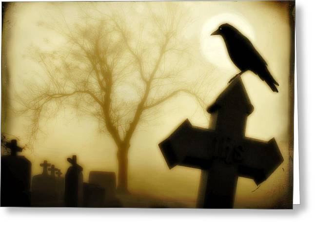 Crows On Tombstones Greeting Cards - At Midnight Greeting Card by Gothicolors Donna Snyder