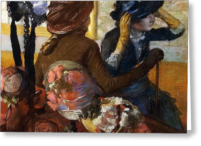 France 1874-1886 Greeting Cards - At Milliners Greeting Card by Edgar Degas