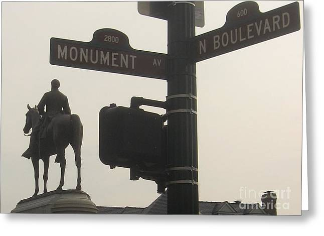 at Monument and Boulevard Greeting Card by Nancy Dole McGuigan