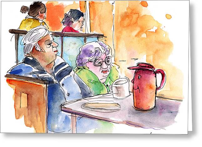 Fed Drawings Greeting Cards - At Nashville Ihop 02 Greeting Card by Miki De Goodaboom