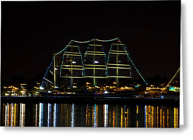 At Night On The  Delaware River - The Mushulu Greeting Card by Bill Cannon
