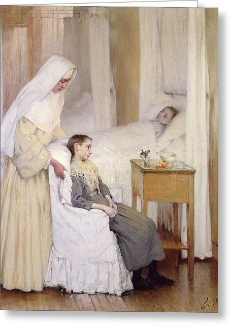 Charity Paintings Greeting Cards - At Notre-Dame du Perpetuel Bon Secours Hospital Greeting Card by Henri Jules Jean Geoffroy
