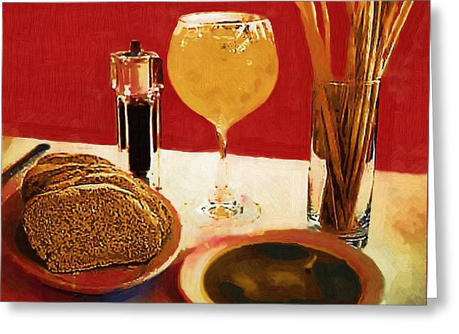 Italian Meal Digital Greeting Cards - At Our Italian Restaurant Greeting Card by RC deWinter