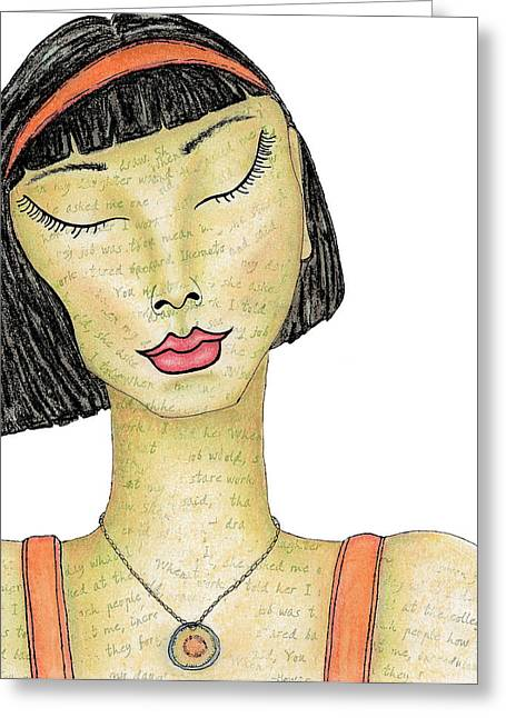 Meditate Drawings Greeting Cards - At Peace with Her Thoughts Greeting Card by Cindy Angiel