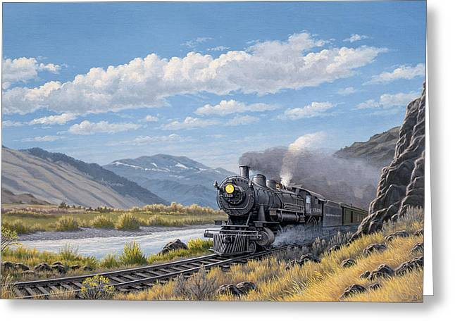 Steam Train Greeting Cards - At Point of Rocks- Bound for Livingston  Greeting Card by Paul Krapf
