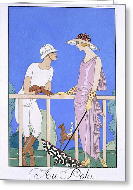 Spring Fashion Greeting Cards - At Polo Greeting Card by Georges Barbier