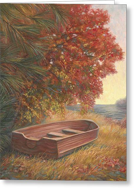 Fall Grass Paintings Greeting Cards - At Rest Greeting Card by Lucie Bilodeau