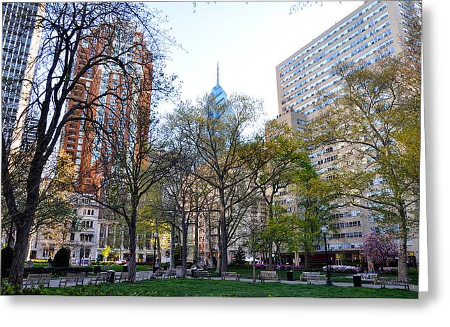 Phila Greeting Cards - At Rittenhouse Square Greeting Card by Bill Cannon