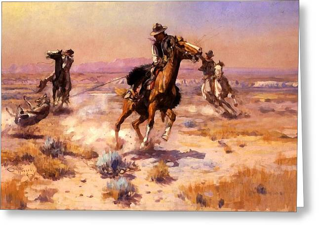Horse And Riders Greeting Cards - At Ropes End Greeting Card by Charles Russell