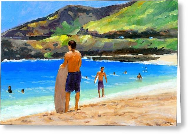 Beach Landscape Greeting Cards - At Sandy Beach Greeting Card by Douglas Simonson