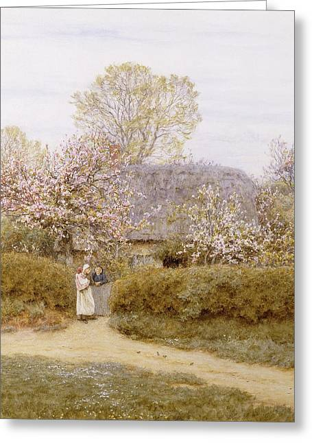 Water Color Artist Greeting Cards - At School Green Isle of Wight Greeting Card by Helen Allingham