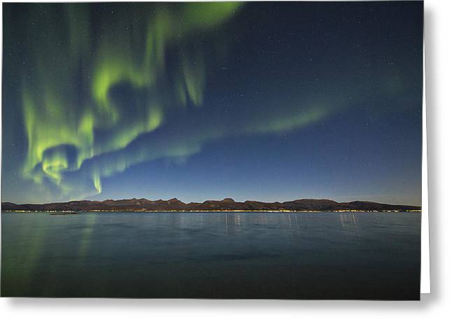 Norway Beach Greeting Cards - At Sortland strait Greeting Card by Frank Olsen