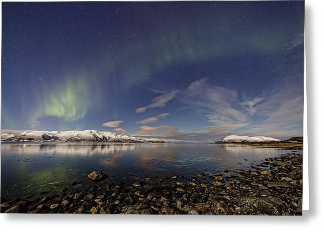 Norway Beach Greeting Cards - At Sortland strait III Greeting Card by Frank Olsen