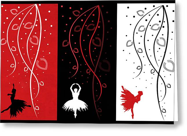 Prima Ballerina Digital Art Greeting Cards - At The Ballet Triptych 1 Greeting Card by Angelina Vick