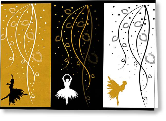 Prima Ballerina Digital Art Greeting Cards - At The Ballet Triptych 4 Greeting Card by Angelina Vick