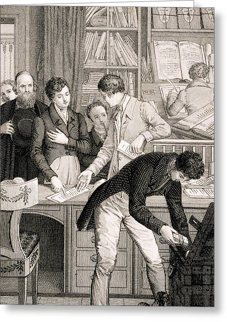 Banker Greeting Cards - At The Bank, C.1800 Greeting Card by English School