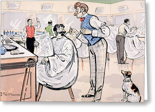 Signature Greeting Cards - At the barber and reading Le Jockey Greeting Card by Thelem