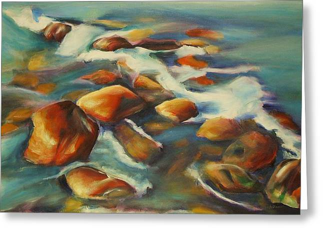 Southampton Water Paintings Greeting Cards - At the beach 2 Greeting Card by Sheila Diemert