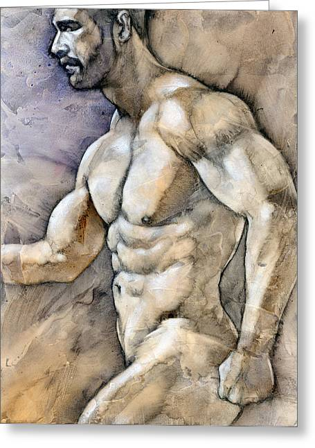 Male Mixed Media Greeting Cards - At the Beach 5 Greeting Card by Chris  Lopez