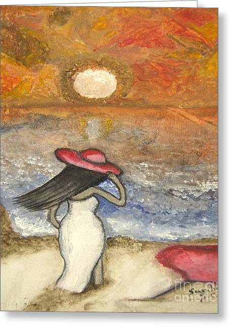 Lady With Red Umbrella Greeting Cards - At the Beach Acrylic Abstract Art by Saribelle Greeting Card by Saribelle Rodriguez