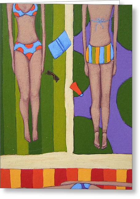 Beaches Drawings Greeting Cards - Bikinis At the Beach Greeting Card by Christy Beckwith