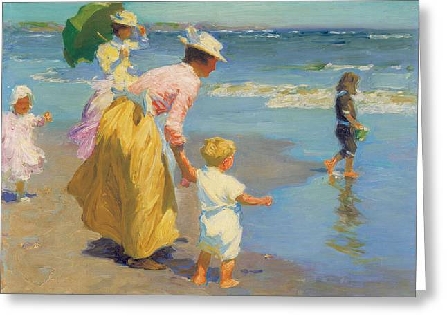 Green Umbrellas Greeting Cards - At The Beach Greeting Card by Edward Potthast