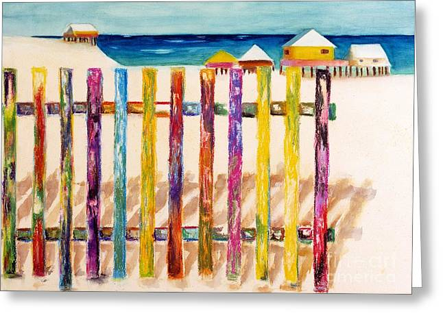 Abstract Beach Landscape Greeting Cards - At The Beach Greeting Card by Frances Marino