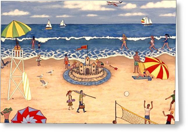 Sand Castles Greeting Cards - At the Beach Greeting Card by Linda Mears