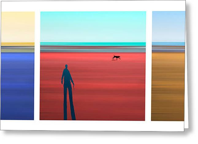 Dog Walker Greeting Cards - At The Beach Greeting Card by Mal Bray