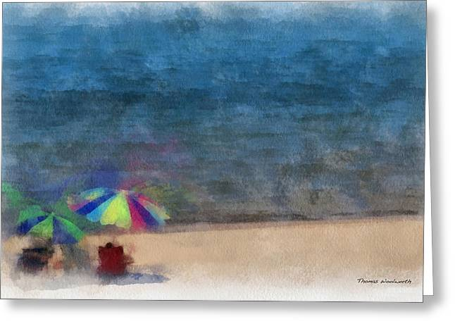 Chaise Greeting Cards - At The Beach Photo Art 03 Greeting Card by Thomas Woolworth