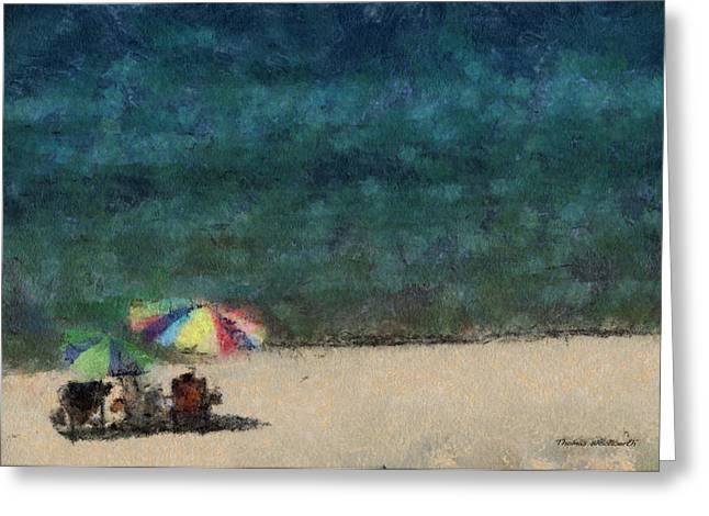 Chaise Greeting Cards - At The Beach Photo Art 05 Greeting Card by Thomas Woolworth