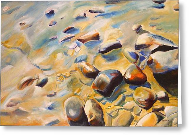 Southampton Water Paintings Greeting Cards - At the beach Greeting Card by Sheila Diemert