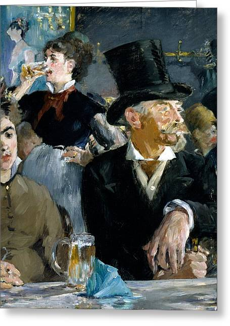 Beer Paintings Greeting Cards - At the Cafe Concert Greeting Card by Edouard Manet