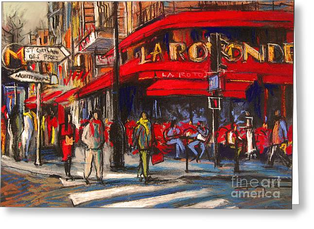 City Life Pastels Greeting Cards - At The Cafe De La Rotonde Paris Greeting Card by Mona Edulesco