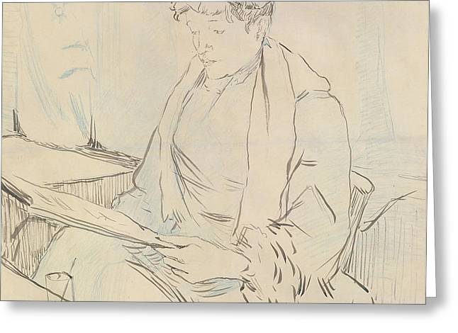At the Cafe Greeting Card by Henri de Toulouse-Lautrec