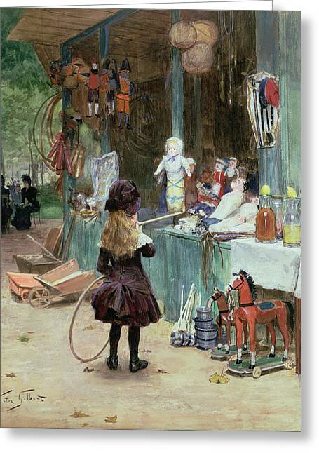 Plaything Greeting Cards - At the Champs Elysees Gardens Greeting Card by Victor Gabriel Gilbert