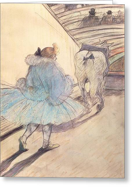 Tricks Paintings Greeting Cards - At the Circus Entering the Ring Greeting Card by Henri de Toulouse Lautrec