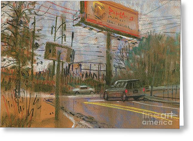 Traffic Pastels Greeting Cards - At The Corner Greeting Card by Donald Maier