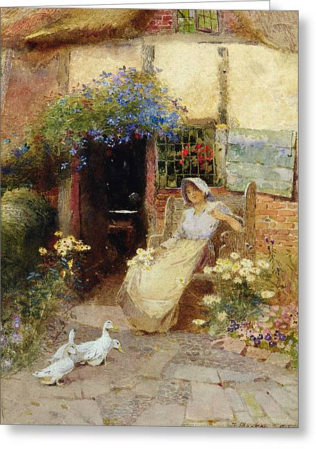 Girl In Dress Greeting Cards - At the Cottage Door Greeting Card by Thomas Mackay