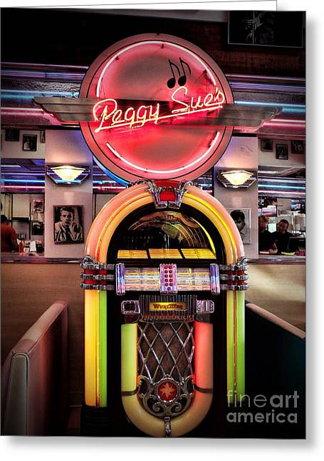 Peggy Sues Diner Greeting Cards - At The Diner Greeting Card by Peggy J Hughes