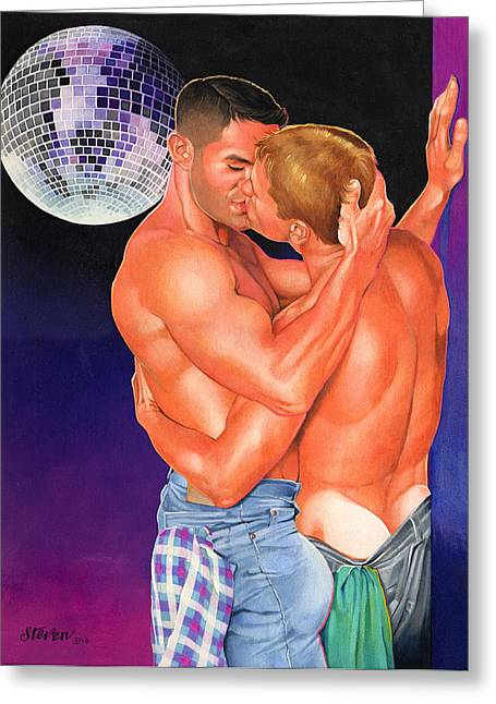 Disco Mixed Media Greeting Cards - At the Disco Greeting Card by Steven Stines
