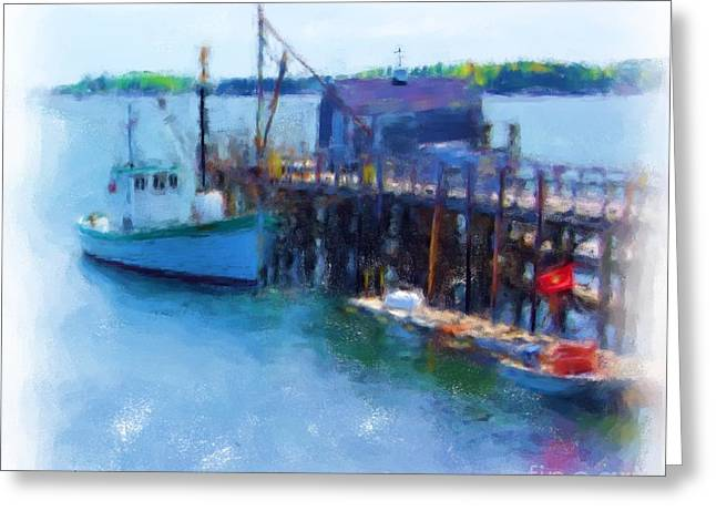 Boats At Dock Greeting Cards - At The Dock 940 20140901 Greeting Card by Julie Knapp