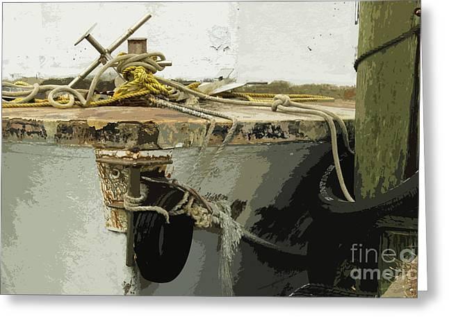 Boats At Dock Greeting Cards - At The Dock Greeting Card by Joe Jake Pratt