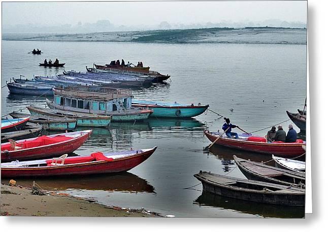 Beach Photography Greeting Cards - At the Docks - Varanasi India Greeting Card by Kim Bemis